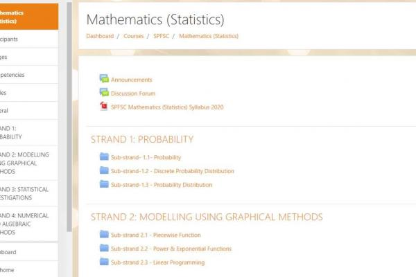 An image of the SPFSC Moodle homepage