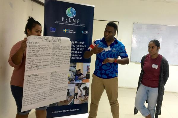 Students during the micro-qualification training in establishing and operating a small seafood business. Picture: USP